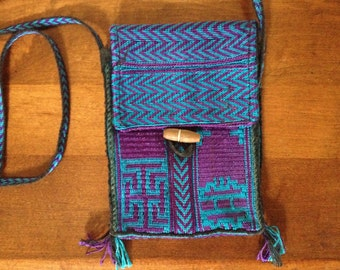 Vintage Boho Purse, Purple & Blue Embroidered Textile Croasbody Purse / Cell Phone Case Holder