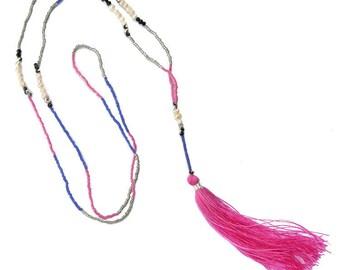 Delicate Pearl Beaded Blue Pink Boho Tassel Necklace, Beaded Necklace, Festival Jewelry, Festival Necklace, Boho Necklace, Boho Accessories