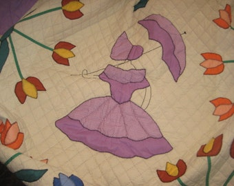 Spring Colors Southern Belle and Tulips Quilt/  Collector Quilt/40's Quilt/Handmade Quilt/Appliqued Quilt