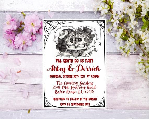 Day Of The Dead Wedding Invitations: Halloween Wedding Invitation Day Of The Dead Invite Skull