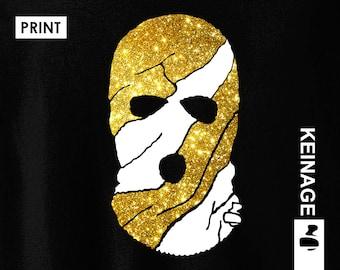 Gang - Ski Mask Design White & Gold Glitter Print   T-Shirt