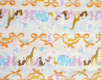 Kokka Fabric ~ Zoo Animals ~ Japanese Fabric ~  Giraffe Rabbit Dog Cat ~ Yellow Fabric ~ Quilt Fabric ~ Apparel Fabric ~ Home Decor Fabric