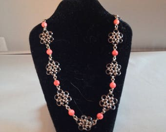 Pink and Purple Japanese Flowers Necklace