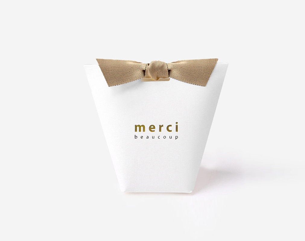 White boxes / Small / Plain / Box with ribbon / Merci Beaucoup from ...