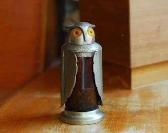 vintage pewter and amber glass owl decanter