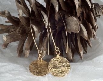 Gold Dangle Earrings / 14K Gold Filled disc jewelry / Gift /  Long Earrings / Dainty Earrings / Hammered earrings / Gold disc earring