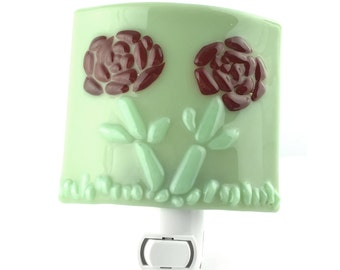 Night Light, Green with Dark Red Flowers, Stained Glass