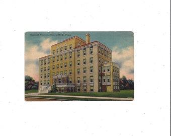 1940s Nazareth Hospital Postcard, Linen Card Stock, Mineral Wells, Texas, UnPosted, Vintage Travel Souvenir, Ephemera, McNairy Magazine
