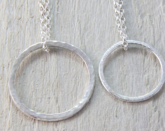 Sterling silver circle necklace, silver circle pendant, organic textured circle necklace,circle of life necklace