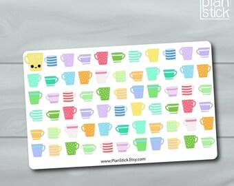 Cute Mug Planner Stickers -Fits Erin Condren Planner, Happy Planner, Filofax, Kikkik, Mambi and Others. Kiss Cut Planner Stickers 65pc