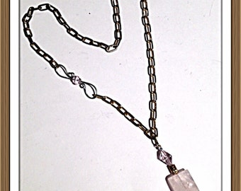 Handmade MWL rose quartz necklace. 0137