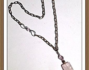 Handmade MWL rose quartz necklace. 0137