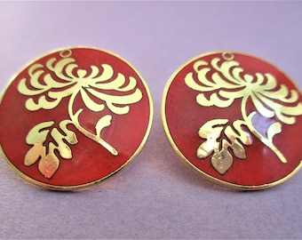 Red & Gold Cloisonne Earrings Large Round Post Earrings Circle Floral Earrings for Pierced Ears Artful Summer Earrings Red Gold Jewelry