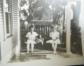 Vintage Snapshot Photo - Two Girl on Porch Swing With Dog