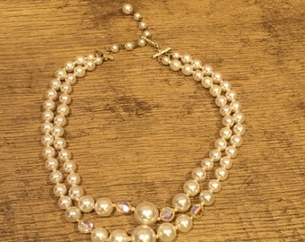 Vintage Double Strand Faux Pearl Necklace with Adjustable Length Closure and Approximate 8 1/2 inch Drop Down, Costume Jewelry