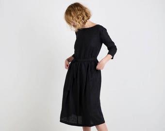 Linen Dress - Black Linen Dress - 3/4 Sleeve Dress - Black Tie Belt Linen Dress - Classic Black Linen Dress - Handmade by OFFON