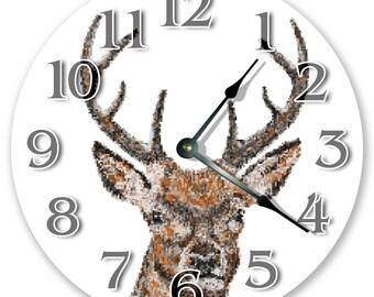 "10.5"" Artistic Deer Head- Large 10.5"" Wall Clock - Home Décor Clock - 3347"