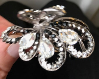 New Antique Silver with  Crystal  Cluster 2 1/2 ''Hair Claw Clip