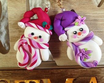 Handcrafted Snowman and Snow Woman Ornament or Necklace of Polymer Clay _ Christmas Collection