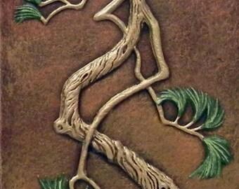 Zen Pine I - Cast Paper - large pine tree - Asian style - wall art - Good feng shui