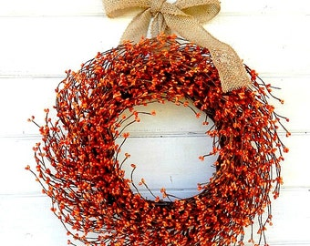 Fall Wreath-Fall Door Wreath-Thanksgiving Wreath-Burlap Wreath-BURNT ORANGE Berry Wreath-Thanksgiving Decor-Autumn Decor-Scented Wreath