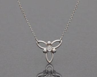 Diamond Necklace in 14K White Gold/ Trinity design