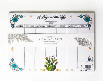 Prickly Pear Cactus Weekly Planner, Cactus Planner, Cactus Calendar, Cactus Paper