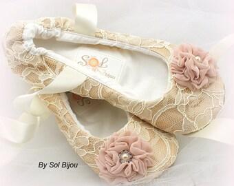 Ballet Flats, Champagne, Ivory, Blush, Wedding Flats, Bridal Shower, Ballerina Slippers, Elegant Wedding, Flower Girl, Lace Flats, Pearls
