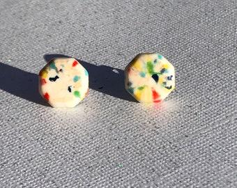 Vintage Ivory Rainbow Confetti Stud Earrings