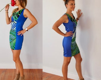 Sundress for women, blue and exotic patterns, short and tight, ethnic and sexy cocktail dress