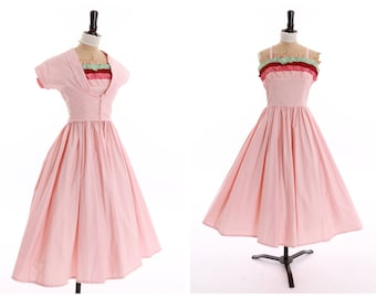 Vintage original 1950s 50s novelty Joan Miller Juniors baby pink dress n matching bolero UK 6 US 2 XS