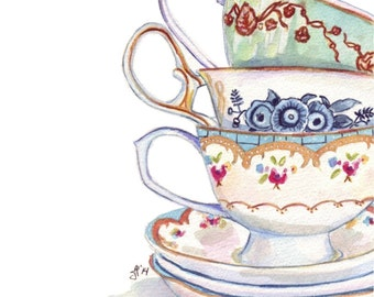 Teacups Still Life Watercolor Painting - Stack of Tea Cups Watercolor Art Print, 8x10