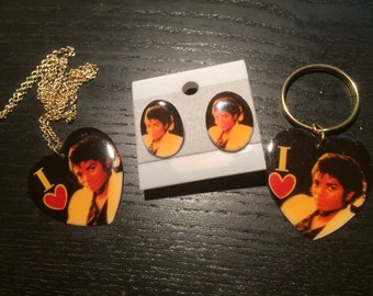 Vintage (deadstock) MICHAEL JACKSON 3-piece set of jewelry: necklace, keychain or pin, choice of earrings