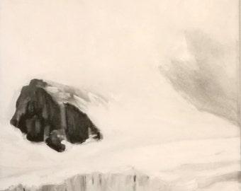 picture-big-clouds-snow-mountain-glacier-oil paintings-landscape painting-oil on canvas-piece-nature-white-gray-black-120x40