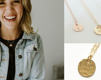 Personalized Gold Necklace - Tiny Rose Gold Initial Necklace -Sterling Silver Necklace -Initial Gold Necklace -Rose Gold Jewelry -Bridesmaid