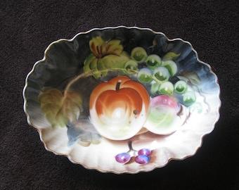"Vintage Lefton China Hand Painted Trinket Plate / Bowl / Soap Dish ~ 6.25"""