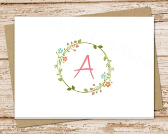 monogram notecard . initial note cards . floral wreath . personalized stationery . stationary . folded cards . set of 8