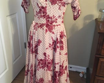 Gorgeous floral and gingham vintage dress
