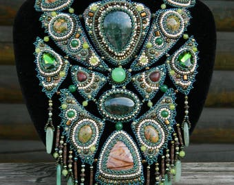 Bead embroidery necklace Bib necklace for women Bib unique necklace Embroidery statement necklace Beadwork stone jewelry Green necklace