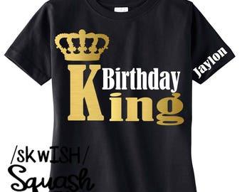 Birthday Boy Shirt, Personalized Birthday King Shirt, Custom Boy's Birthday Shirt, Birthday Party Shirt, Black Birthday Shirt