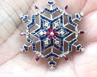 Snowflake Pendant  Sapphire Pendant  Ruby Pendant  Winter Fashion  Natures Splendour  Fine Jewelry  OOAK Necklace  Snowflake Necklace