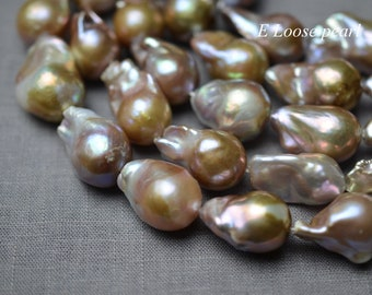 Good luster Flameball pearl leather pearl Large hole pearl Freshwater pearl Loose pearls Nucleated pearl necklace pearl 16-17mm PL4366