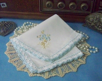 Bridal handkerchief, Something Blue, Something Old, Bouquet Wrap, Hand Crochet, Ready to ship