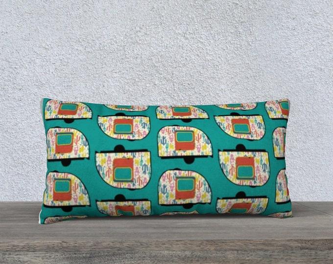 Vintage Desert Camper Long Pillow Cover, Lumbar Pillow, Throw Pillow, Sofa Pillow