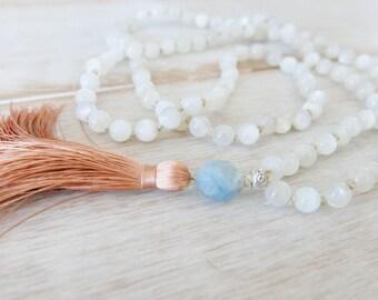 Divine Feminine Moonstone Mala - Beaded Necklace/Tassel Necklace/Mala/Necklace/Moonstone Mala Necklace/Moonstone Mala Beads