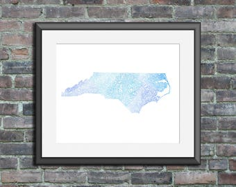 North Carolina watercolor typography map art unframed print state poster wedding graduation gift anniversary wall decor lake house