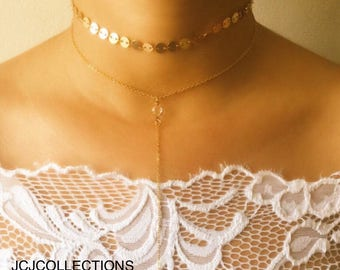 Coin Choker Necklace / CZ Lariat Necklace
