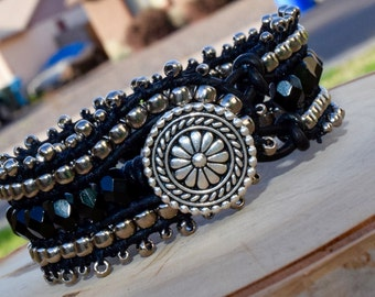 Handmade black/silver leather wrap cuff bracelet