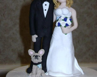 Bride and Groom with dog Wedding Cake topper