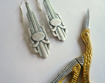 1920s earrings Long silver earrings Classic earrings Chrysler building Art deco earrings Downton Abbey Sterling silver 1910s Silver dangles